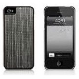MACALLY Apple iPhone 5 Texture Snap On Case With Classic Faux Leather Exterior Finish [WEAVE5GR] - Grey - Casing Handphone / Case